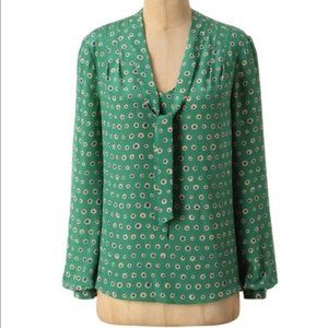 NWT Anthropologie Dots Blouse Sariah silk sz 6